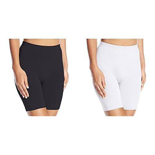 Vassarette Women's 2 Pack Comfortably Smooth Slip Short Panty 12674, Black/White, 2X-Large/9 ()