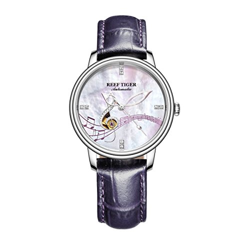 Reef Tiger Luxury Brand Steel Watches for Women White MOP Dial Analog Watches (Analog White Mop)