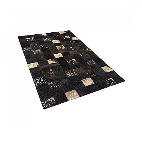 Teppich Braun - 80x150 cm - Patchwork - Lederteppich - Kuhfell - Läufer - BANDIRMA