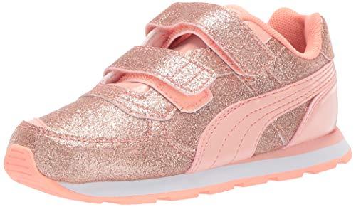 PUMA Girls' Vista Glitz V Sneaker peach bud-bright peach- white, 9 M US Toddler (Puma Shoes Toddler)