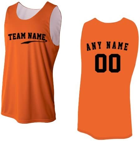 Camiseta sin mangas reversible unisex, diseño deportivo que absorbe la humedad, Mujeress X-Large, Orange/White (Custom Front and/or Back): Amazon.es: Deportes y aire libre