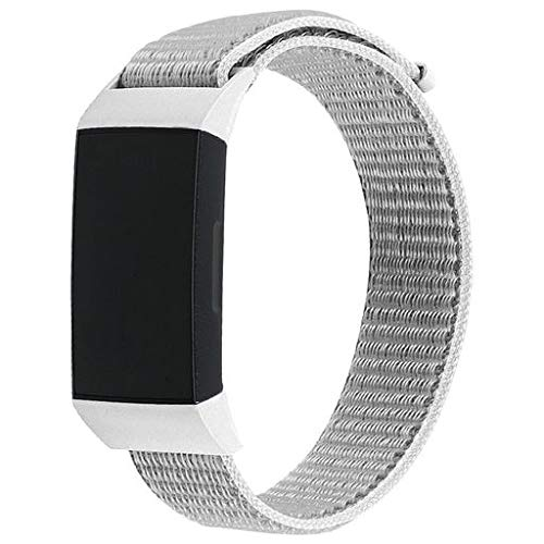 Junshion Large Replacement Soft Nylon Sport Loop Wrist Band Strap for Fitbit Charge 3,Wristband Closure Wrist Band Straps Accessories Replacement Bands for Fitbit Charge 3 Men ()