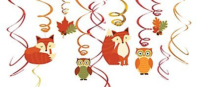Thanksgiving Hanging (Colors of Fall Thanksgiving Party Woodland Friends Swirl Hanging Decoration, Foil, Pack of 12)