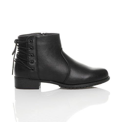 Womens Ladies Low Block Heel Lace up Corset Back Zip Pixie Biker Riding Ankle Boots Size Black Matte KFGC50tt9