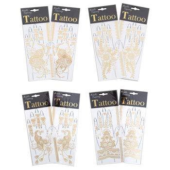 Tattoo Metallic Hand 12 Assorted Temporary Gold Henna Look Pb, Case of 96