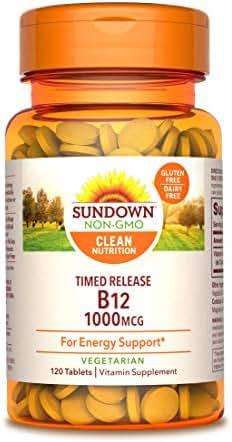 Sundown Vitamin B-12, Energy Support, Vegetarian, 1000 mcg, 120 Time Release Tablets (Pack of 1)