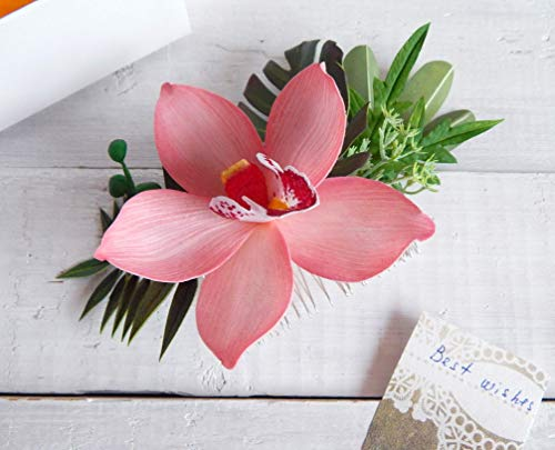 Hawaii Hair Comb with Realistic Blush Pink Flower Orchid and Green Tropical Leaves Monstera Palm ()