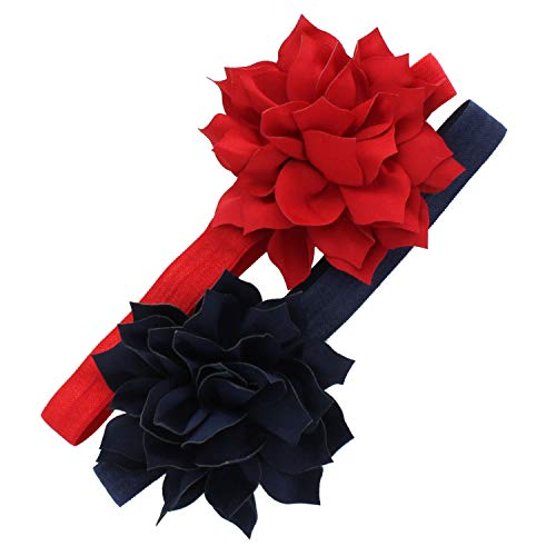 My Lello Baby Petal Flower Headbands Mixed Colors 2-Pack (Red/Navy) (Gift For 1 Year Old Baby Girl Indian)