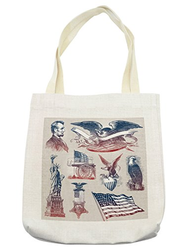 Lunarable American Tote Bag, Vintage National Symbols Hand Drawn Style Abraham Lincoln Eagle Statue of Liberty, Cloth Linen Reusable Bag for Shopping Groceries Books Beach Travel & More, Cream ()