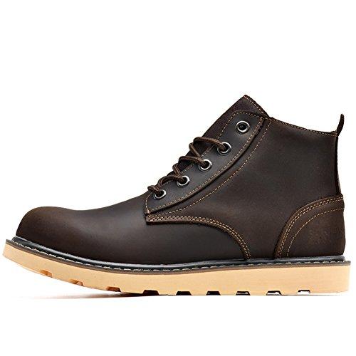 Scarpe casual maschile vestito alpinismo autunno all'aperto [fondo morbido] stivali slip on marrone-nero-B Lunghezza piede=42EU