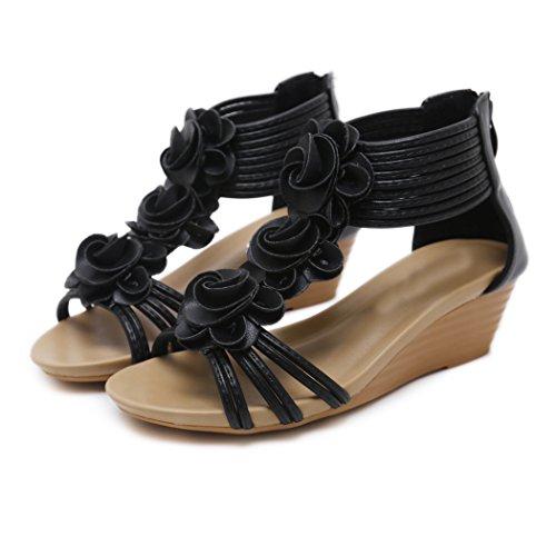 Noir de Sandales Ruiren Confortables Dames D'été Femmes Compensées Romaine Chaussures des de pour Fleur wqRWnERrdO