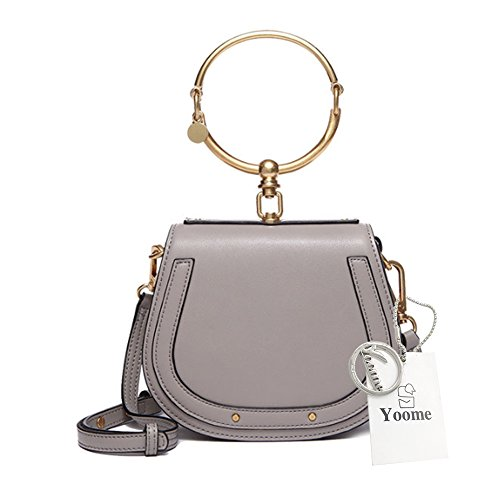 Handle Handbag (Yoome Elegant Rivets Punk Style Circular Ring Handle Handbags Small Top Handle Handbags And Purses Messenger Crossbody Bags For Girls - Grey)