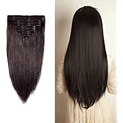 """Double Weft 100% Remy Human Hair Clip in Extensions 10''-22'' Grade 7A Quality Full Head Soft Silky Straight 8pcs 18clips Off Black (14"""" / 14 inch 120g,#1B Natural Black)"""