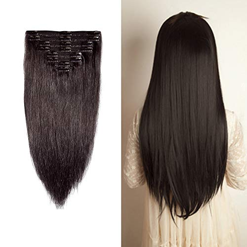 Double Weft 100% Remy Human Hair Clip in Extensions 10''-24'' Full Head Long Soft Silky Straight 8pcs 18clips for Women Fashion (22