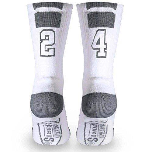Custom Team Number Crew Socks   Athletic Socks by ChalkTalkSPORTS   White   24