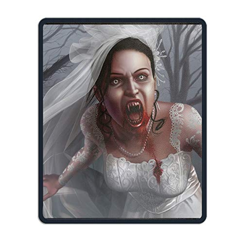 Dark Vampire Creepy Spooky Scary Halloween Bride Horror Blood Gaming Mousepad Non Slip Desk Rubber Custom Laptop Locked Mice Mat 8.66 x 7.08 inch -