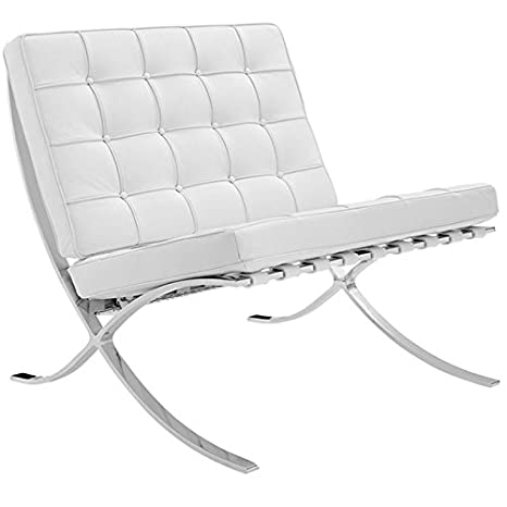 Silla Design Barcelona (Piel reciclada) Color Blanco: Amazon ...