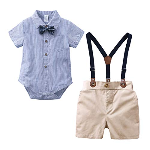 Mary ye Baby Boys Gentleman Outfits Suits Infant Short Sleeve Onesies+Bib Pants Blue