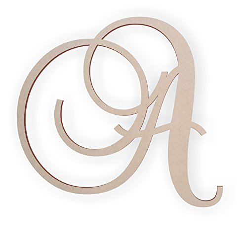 Jess and Jessica Wooden Letter A, Wooden Monogram Wall Hanging, Large Wooden Letters, Cursive Wood Letter (Wooden Letters Wall Monogram)
