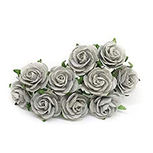 "1"" Grey Paper Flowers Paper Rose Artificial Flowers Fake Flowers Artificial Roses Paper Craft Flowers Paper Rose Flower Mulberry Paper Flowers, 20 Pieces 1"