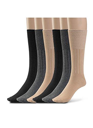 (Silky Toes Women's Diabetic 6Pk Premium Soft Non-Binding Cotton Dress Socks (9-11, Black/Grey/Tan - 2 Pairs Of Each))
