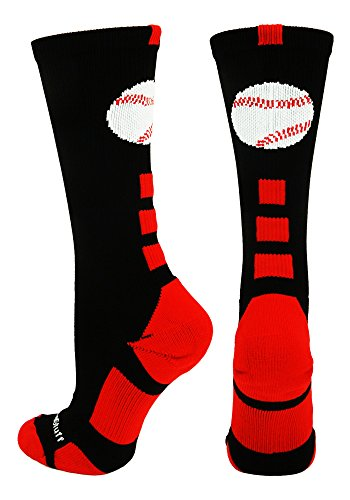 (MadSportsStuff Baseball Logo Crew Socks (Black/Red,)