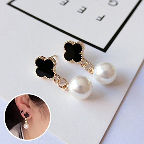 Excellent Long Four-Leaf Clover Earrings earings Dangler Eardrop Women Girls Personality Tide xiahan guo Creative Necklace Pendant Pearl Jewelry Ear ()