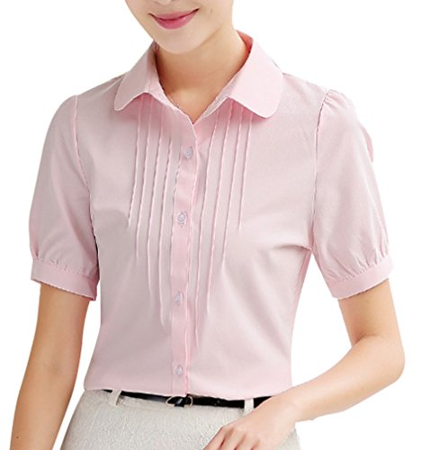 82e3f8a53b Yasong Women Girls Short Sleeve Peter Pan Collar Button Down Slim Fitted  Formal Top Work Blouse  Amazon.co.uk  Clothing