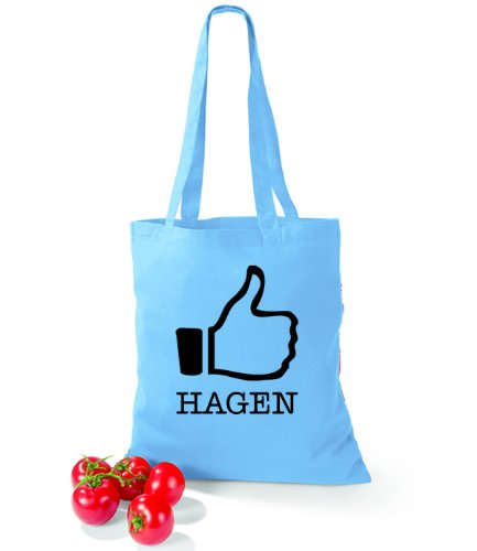 Artdiktat Baumwolltasche I like Hagen Surf Blue Uaz5WOWq