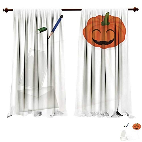 DragonBuildingMaterials Blackout Room Darkening Curtains Pencil Lying on Blank Page with Halloween Pumpkin Picture -
