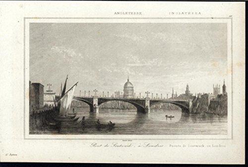 Southwark Bridge St Pauls Thames Dome London England 1844 antique view - St Thames