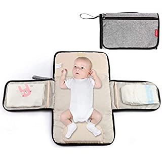 Portable Changing-Pad Cover for Baby Diapers - Lonnie Life Baby Home Changing Table, Baby Changing Station for travel, Diaper Bag And Changing Mat with Pillow (Grey)
