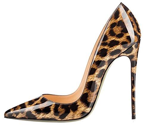 Dimensione colore A Donna Eu Marrone Beige Di 39 Tacco Qiusa Per Sexy Punta Alto Con Leopardo Décolleté x0wnPOqFH