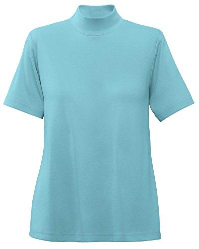 (UltraSofts Cotton-Polyester Mock Top, Aqua, Large)