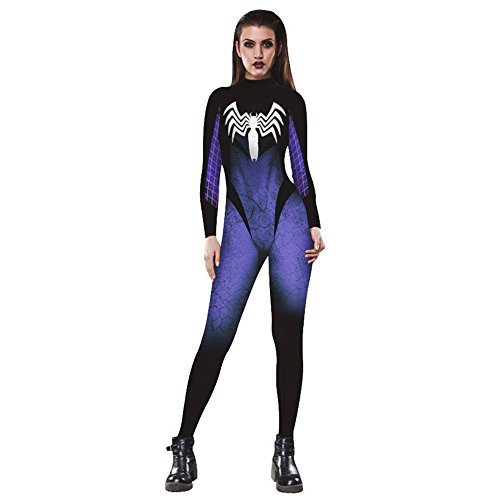 Womens Halloween Party Cosply Catsuit,3D Jumpsuit Romper (Medium, Venom Spider)]()