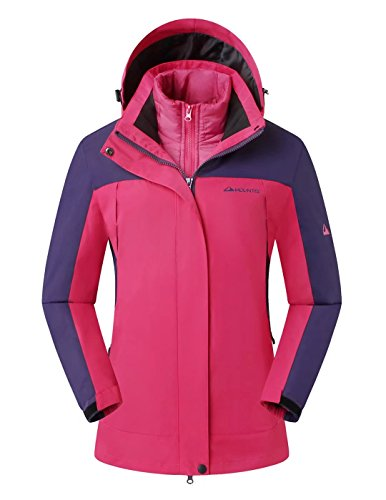 MOUNTEC 3in1 Women's Waterproof Outdoor Jacket With Removable Quilted Puffer Jacket Lining