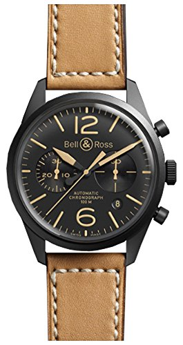 Bell & Ross Men's BR126-HERITAGE Vintage Black Chronograph Dial Watch with Brown Strap