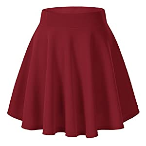 Women's Basic Solid Versatile Stretchy Flared Casual Mini Skater Skirt (X-Large, Wine Red)