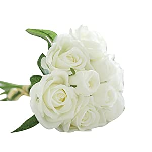 YJYdada 9 Heads Artificial Silk Fake Flowers Leaf Rose Wedding Floral Decor Bouquet (White) 23