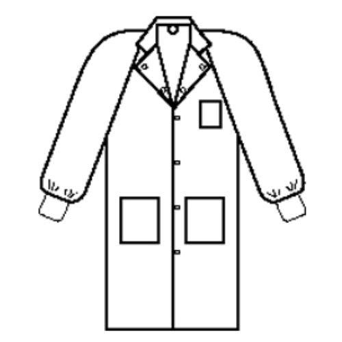 Halyard Health 10041 Universal Precautions Lab Coat, Traditional Collar, Knit Cuff, 6 Snaps, 3 Pockets, 116.8 cm Length, Medium, White (Pack of 25)