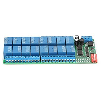 Akozon DC 12V Relay Module 16 Channel MODBUS RTU RS485 Relay Module