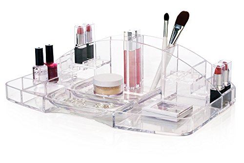 Clear Plastic Large Capacity Cosmetic Storage and Makeup Organizer