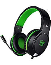 Karvipark H-10 Gaming Headset for Xbox One/PS4/PS5/PC/Nintendo Switch|Noise Cancelling,Bass Surround Sound,Over Ear,3.5mm Stereo Wired Headphones with Mic for Clear Chat (Green)