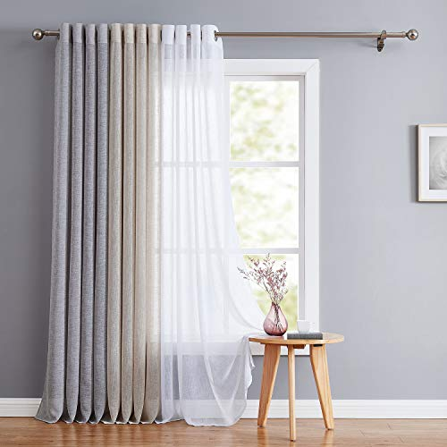 (Fragrantex Grey Sheer Curtains 84 Bedroom Flax Linen Window Curtain Drapes Grommet Top Voile Panels for Living Room Tulle 2 Panels, Soft Gray)
