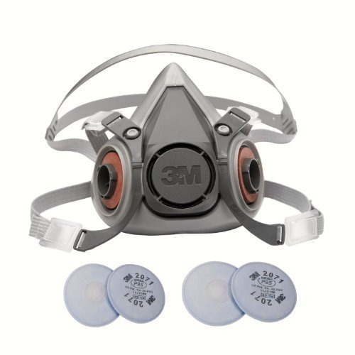 3M 6000 Series Respirator Large Half Mask Facepiece with Adjustable Straps Size Large 6300 with 2 Pairs of 3M 2071 Filters