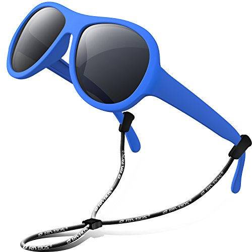 RIVBOS Rubber Kids Polarized Sunglasses With Strap Glasses Shades for Boys Girls Baby and Children Age 3-10 (RBK067-Blue)