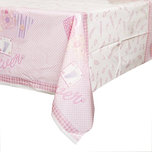 Pink Stitching Shower Plastic Tablecloth