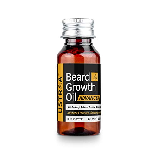 USTRAA Beard Growth Oil Advanced – 60ml – Beard Growth Oil for Patchy Beard, With Redensyl and DHT Booster, Nourishment…