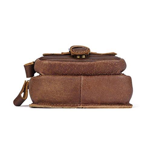 VBIGER Men Cowhide Waist Bag Retro Waist Pack Fanny Bag Cellphone Waist Pouch by VBIGER (Image #2)