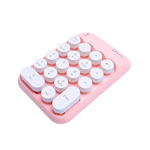 Uhuru Wireless Numeric Keypad, 18-Keys Financial Accounting Keypad, Portable Mini 2.4Ghz USB Keypad for Laptop, Computer, Desktop, PC, Notebook-Pink (Pink Keypad)